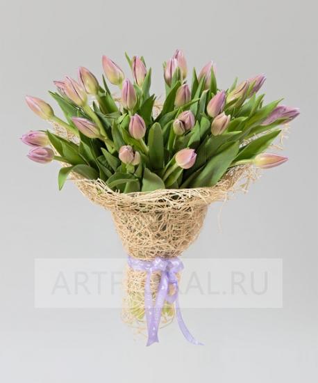 """Букет из 25 тюльпанов """"Фиолетовый восторг"""""""