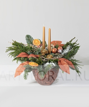 """Новогодняя композиция """"Цитрусовое счастье"""""""