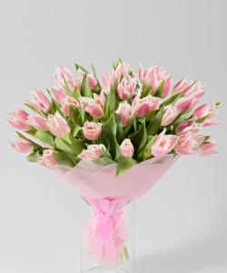 """Букет из 33 тюльпанов """"Розовое облачко"""""""