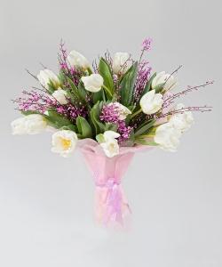 """Букет из 15 тюльпанов """"Нежнейшая нежность"""""""