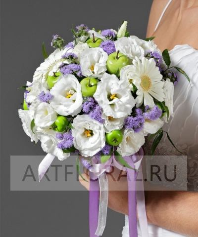 Свадебный букет невесты из эустомы №17