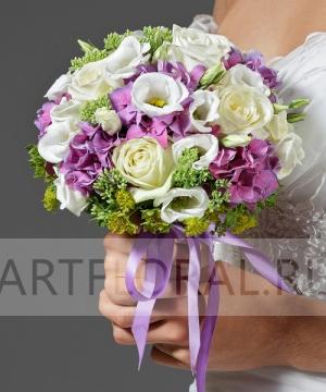 Свадебный букет из роз и эустомы №19