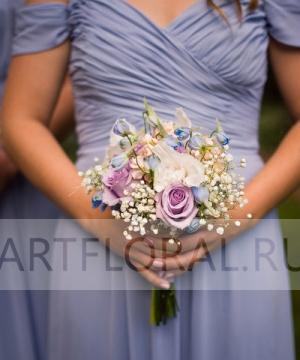 Свадебный букет из роз и гвоздик №110