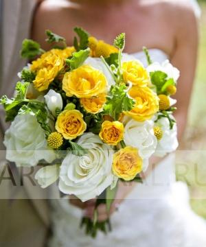Свадебный букет из роз и фрезий №119