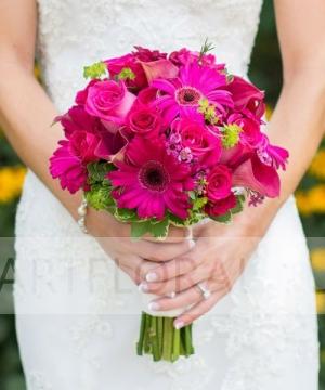 Свадебный букет из роз и калл №144