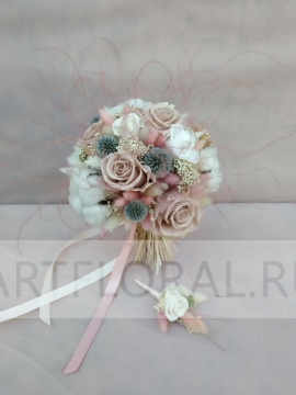 Букет невесты из стабилизированных цветов 19