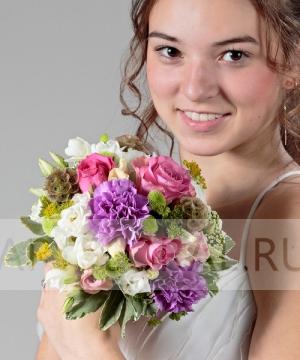 Свадебный букет из роз и эустомы №44