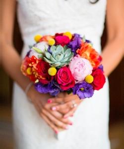Свадебный букет из роз и эустомы №133