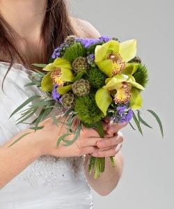 Свадебный букет из орхидей и гвоздик №209