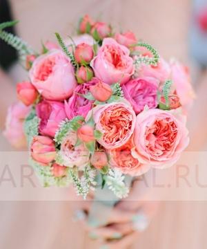 Свадебный букет из пионовидных роз №168